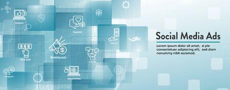 Social Media Ads Icon Set with Web Header Banner Ilustração