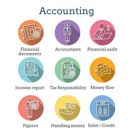 Buchhalter oder Buchhaltung Icon Set mit Bildern für Geld, Buchhalter und Zahlen