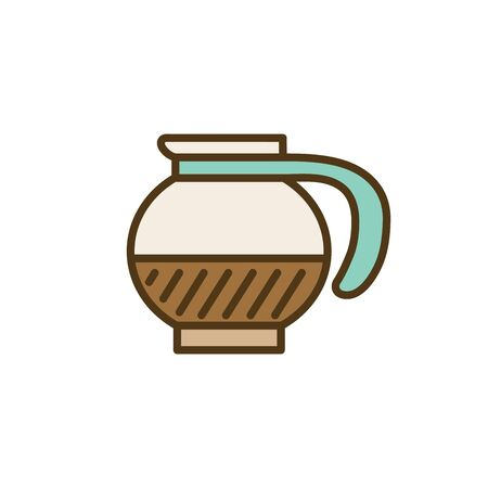 Coffee icon w green brown and dark brown colors Illustration