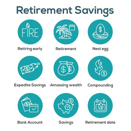 Retirement Savings Icon Set w money bags, nest egg, calendar and more Ilustração