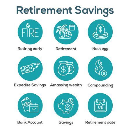 Retirement Savings Icon Set w money bags, nest egg, calendar and more Illustration