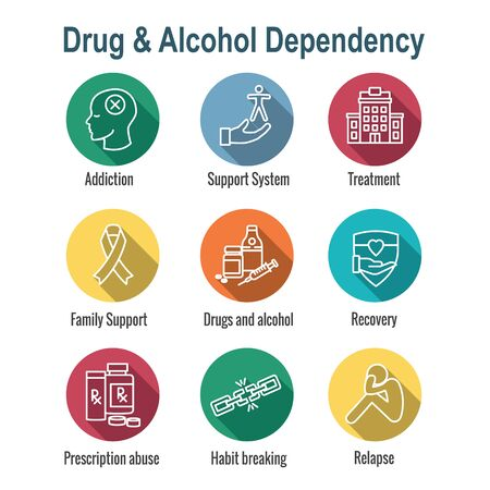 Drug & Alcohol Dependency Icon Set w support, recovery, and treatment Stock Illustratie