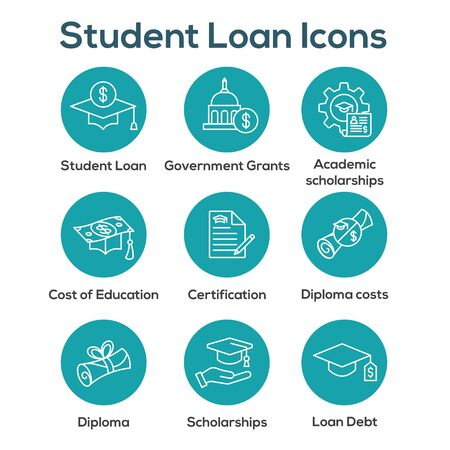 Student Loans Icon Set - Academic Scholarships and Debt Imagery 写真素材 - 129846561