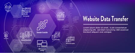 Website Data Transfer Icon Set - Web Header Banner Ilustração