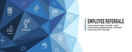 Employee Referrals Icon Set w Web Header Banner  イラスト・ベクター素材