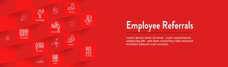 Employee Referrals Icon Set & Web Header Banner  イラスト・ベクター素材