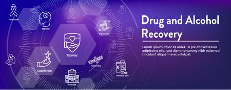 Drug & Alcohol Dependency Icon Set and Web Header Banner