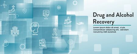 Drug & Alcohol Dependency Icon Set and Web Header Banner  イラスト・ベクター素材