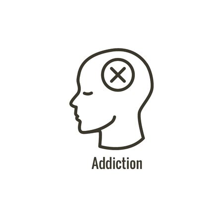 Drug and Alcohol Dependency Icon showing drug addiction imagery  イラスト・ベクター素材