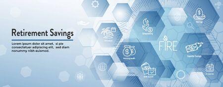 Set di icone di risparmio pensionistico e banner di intestazione Web Vettoriali