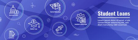 Student Loans Icon Set and Graduation Web Header Banner