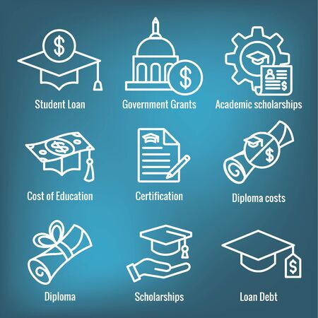 Student Loans Icon Set - Academic Scholarships and Debt Imagery Vectores