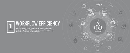 Workflow Efficiency Icon Set with Web Header Banner - Operations, Processes, Automation, etc