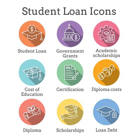 Student Loans Icon Set - Academic Scholarships and Debt Imagery Illustration