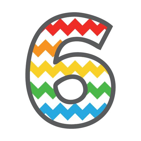 6 Six Chevron Number w colorful rainbow pattern and grey border