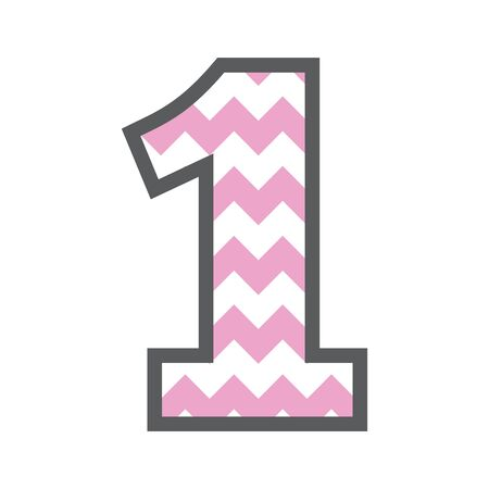1 One Chevron Number w colorful pink and white pattern and grey border
