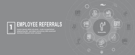 Employee Referrals Icon Set w Web Header Banner 向量圖像
