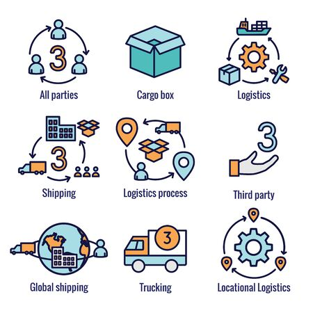 Logistics icon set w buildings, trucking, people and shipping box