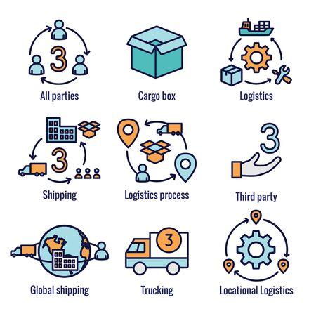 Zestaw ikon logistyki w budynkach, ciężarówkach, ludziach i skrzynce wysyłkowej