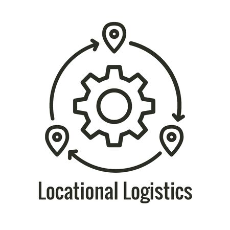 Logistics icon showing movement from 1 place to the next Фото со стока - 132035109