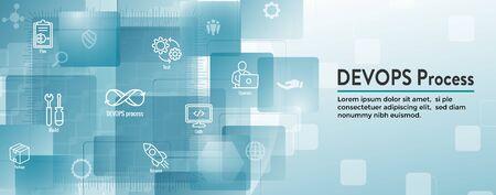 DevOps Icon Set w Dev Ops Web Header Banner