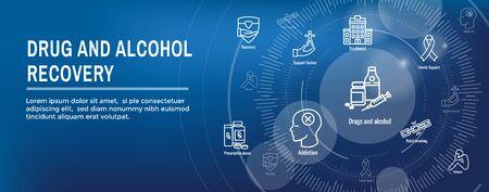 Drug & Alcohol Dependency Icon Set and Web Header Banner Banque d'images - 132035130