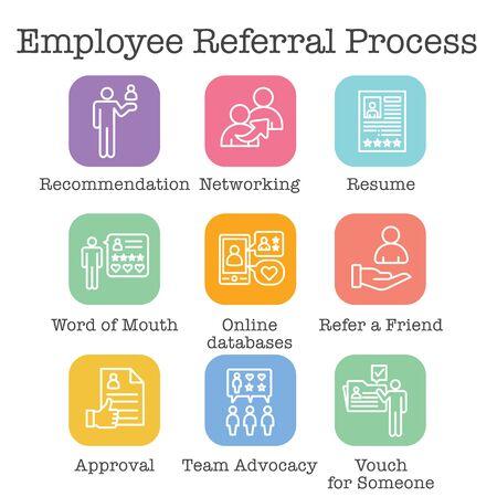 Conjunto de iconos del proceso de recomendación de empleados: redes, recomendaciones y referencias