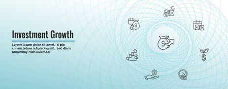 Banking, Investments und Growth Icon Set mit Dollarsymbolen usw.
