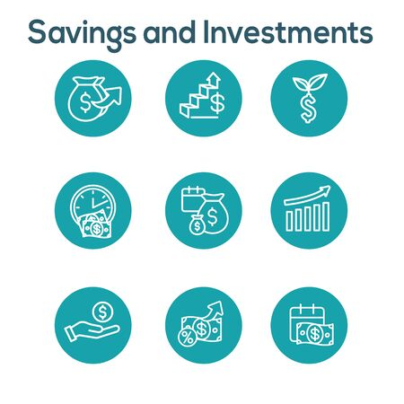 Banking, Investments and Growth Icon Set w Dollar Symbols, etc Ilustração