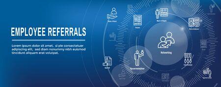 Employee Referrals Icon Set w Web Header Banner Ilustracja