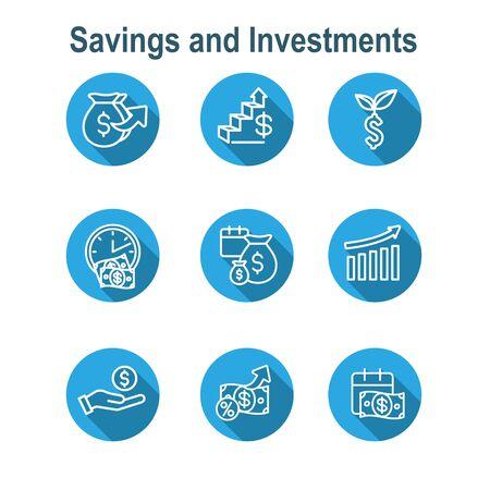 Banking, Investments and Growth Icon Set w Dollar Symbols, etc Illustration