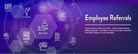 Employee Referrals Icon Set w Web Header Banner Illustration