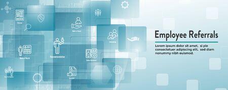 Employee Referrals Icon Set w Web Header Banner Иллюстрация
