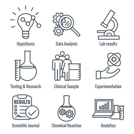 Zestaw ikon procesu naukowego - hipoteza, analiza itp. Ilustracje wektorowe