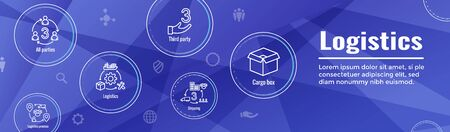 Logistics icon set and web header banner w buildings, trucking, people and shipping box
