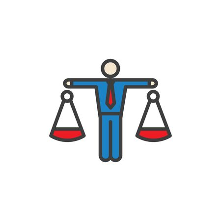 Icon with man weighing decisions - making a decision or choice icon vector