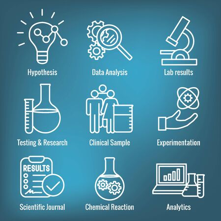 Scientific Process Icon Set - hypothesis, analysis, etc