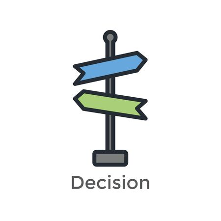 Arrow, directional way sign, with making a decision or choice icon vector
