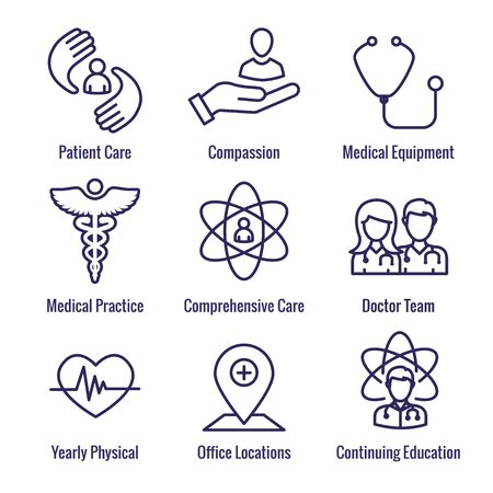 Physician Care Icon Set with medical, patient, and health care, etc