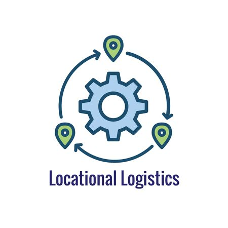 Logistics icon showing movement from 1 place to the next Illustration