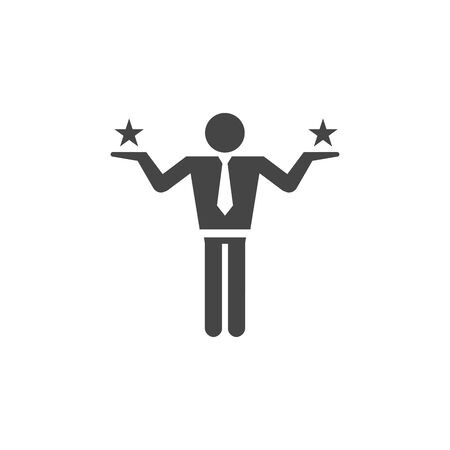 Making a decision or choice icon vector with stars and business man  イラスト・ベクター素材