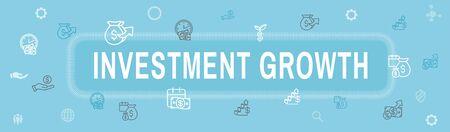 Banking, Investments and Growth Icon Set w Dollar Symbols, etc Ilustracja