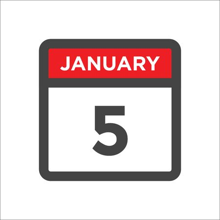 January 5 calendar icon w day of month Illustration