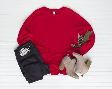Red tshirt mockup w boots and jean. Pine cone mock up