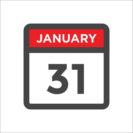 January 31 calendar icon w day of month