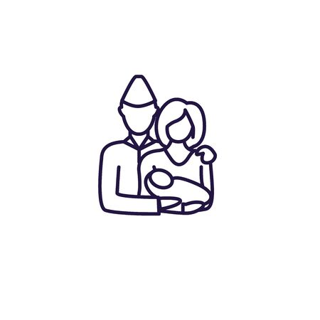 Great Generation Icon w Soldier and wife holding baby