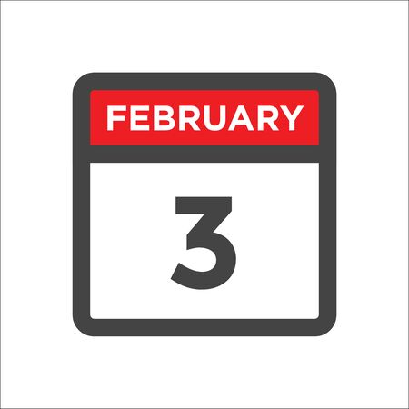 February 3 calendar icon with day and month