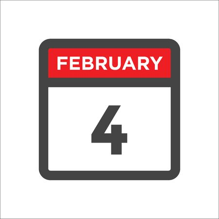 February 4 calendar icon with day and month