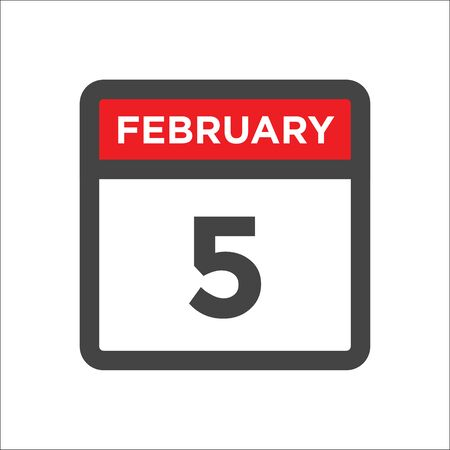 February 5 calendar icon with day and month