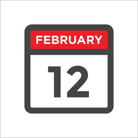 February 12 calendar icon with day and month